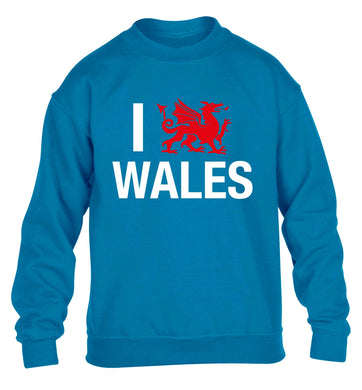 I love Wales children's blue sweater 12-13 Years