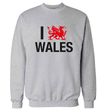 I love Wales Adult's unisex grey Sweater 2XL