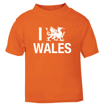 I love Wales orange Baby Toddler Tshirt 2 Years