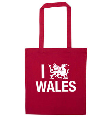 I love Wales red tote bag