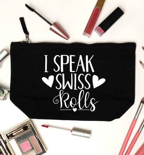 I speak swiss..rolls black makeup bag