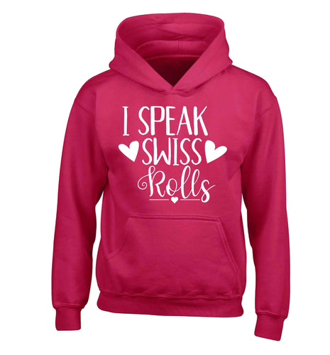 I speak swiss..rolls children's pink hoodie 12-13 Years