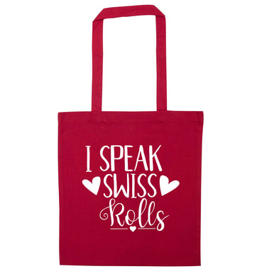 I speak swiss..rolls red tote bag