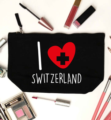 I love switzerland black makeup bag