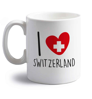 I love switzerland right handed white ceramic mug