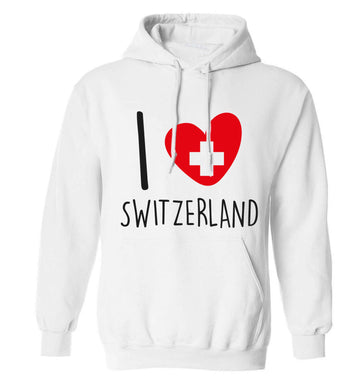 I love switzerland adults unisex white hoodie 2XL