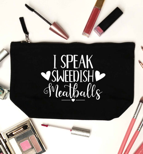I speak sweedish...meatballs black makeup bag