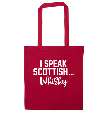 I speak scottish...whisky red tote bag