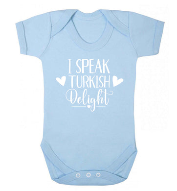 I speak turkish...delight Baby Vest pale blue 18-24 months