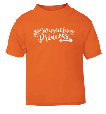 Weightlifting princess orange Baby Toddler Tshirt 2 Years