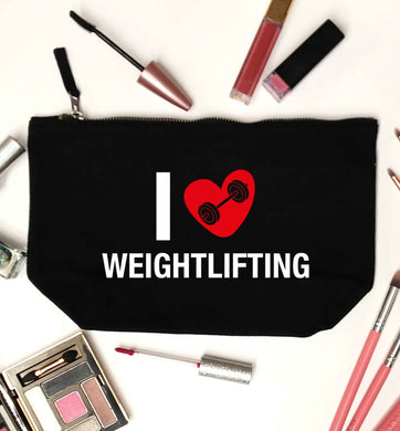 I love weightlifting black makeup bag