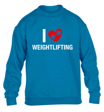 I love weightlifting children's blue sweater 12-13 Years