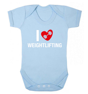 I love weightlifting Baby Vest pale blue 18-24 months