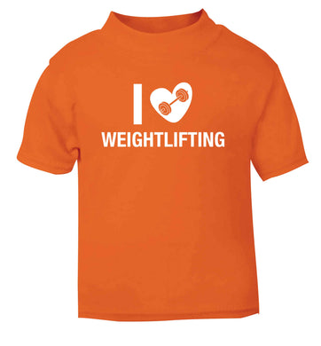 I love weightlifting orange Baby Toddler Tshirt 2 Years