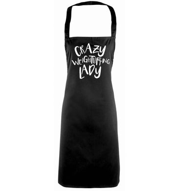 Crazy weightlifting lady black apron
