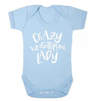 Crazy weightlifting lady Baby Vest pale blue 18-24 months