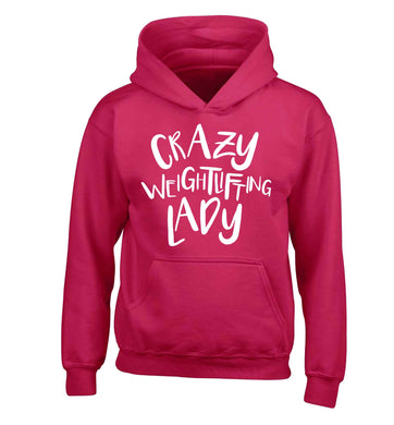 Crazy weightlifting lady children's pink hoodie 12-13 Years