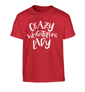 Crazy weightlifting lady Children's red Tshirt 12-13 Years