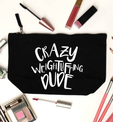 Crazy weightlifting dude black makeup bag