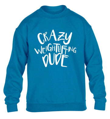 Crazy weightlifting dude children's blue sweater 12-13 Years