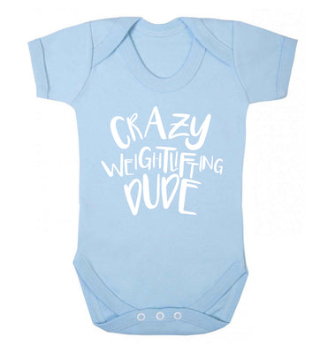 Crazy weightlifting dude Baby Vest pale blue 18-24 months
