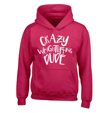 Crazy weightlifting dude children's pink hoodie 12-13 Years