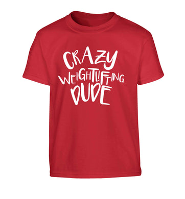 Crazy weightlifting dude Children's red Tshirt 12-13 Years