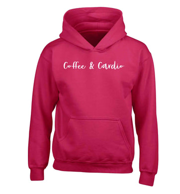 Coffee and cardio children's pink hoodie 12-13 Years