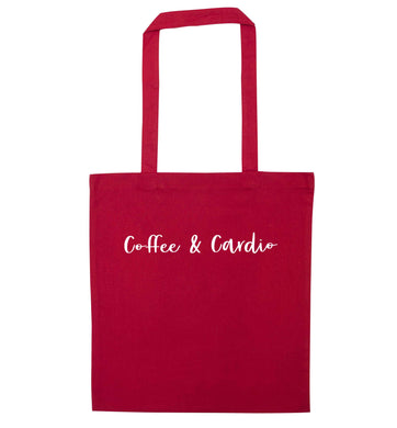 Coffee and cardio red tote bag