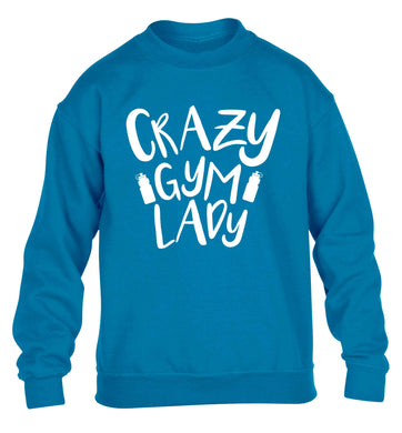Crazy gym lady children's blue sweater 12-13 Years