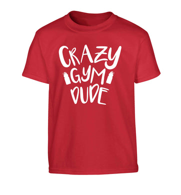 Crazy gym dude Children's red Tshirt 12-13 Years