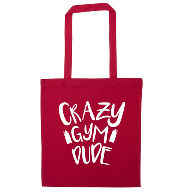 Crazy gym dude red tote bag
