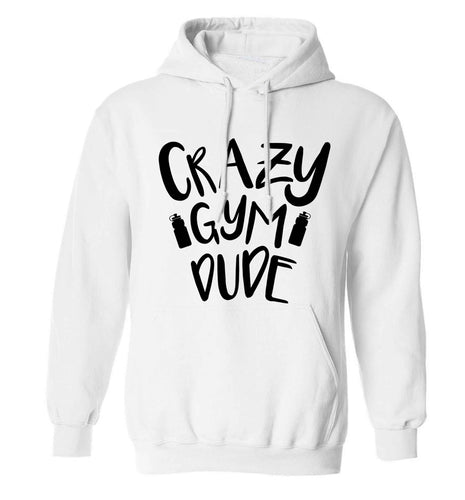Crazy gym dude adults unisex white hoodie 2XL