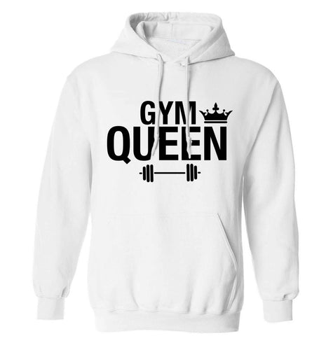 Gym queen adults unisex white hoodie 2XL