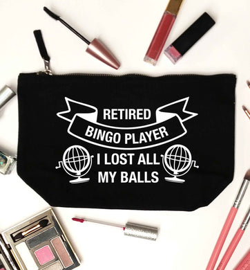 Retired bingo player I lost all my balls black makeup bag
