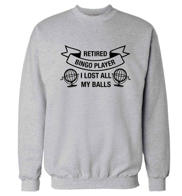 Retired bingo player I lost all my balls Adult's unisex grey Sweater 2XL