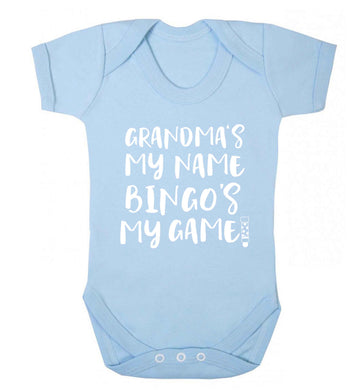 Grandma's my name bingo's my game! Baby Vest pale blue 18-24 months