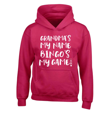 Grandma's my name bingo's my game! children's pink hoodie 12-13 Years