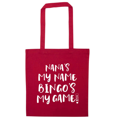Nana's my name bingo's my game! red tote bag