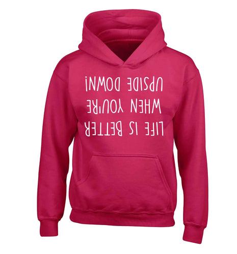 Life is better upside down children's pink hoodie 12-13 Years