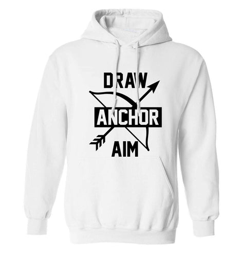Draw anchor aim adults unisex white hoodie 2XL