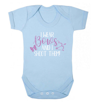 I wear bows and I shoot them Baby Vest pale blue 18-24 months