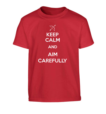 Keep calm and aim carefully Children's red Tshirt 12-13 Years