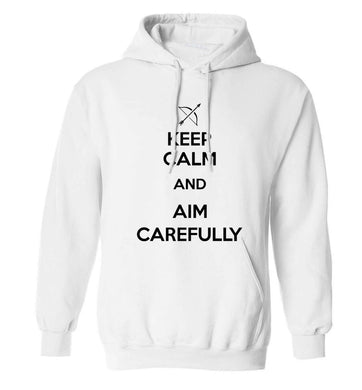 Keep calm and aim carefully adults unisex white hoodie 2XL