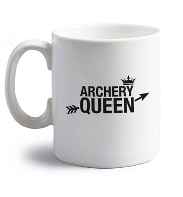 Archery queen right handed white ceramic mug