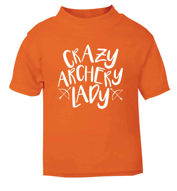 Crazy archery lady orange Baby Toddler Tshirt 2 Years
