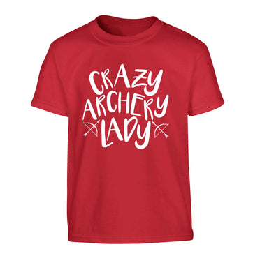 Crazy archery lady Children's red Tshirt 12-13 Years