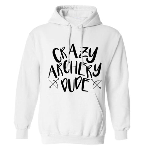 Crazy archery dude adults unisex white hoodie 2XL