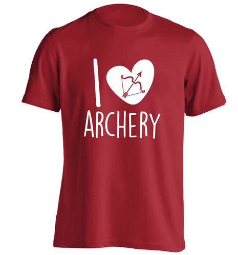 I love archery adults unisex red Tshirt 2XL