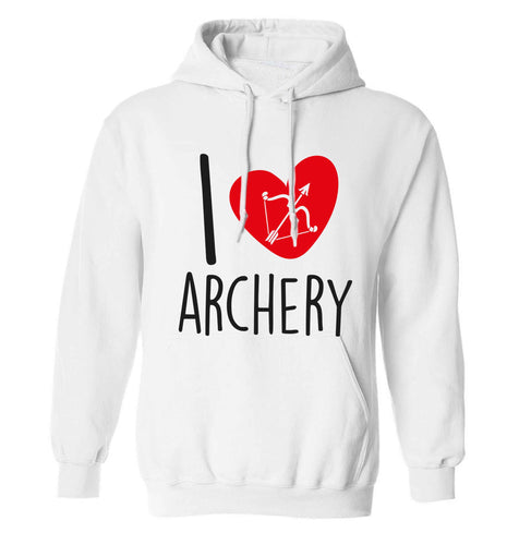 I love archery adults unisex white hoodie 2XL